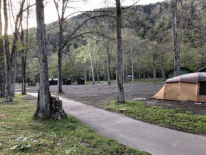 第一フリーサイトにテント